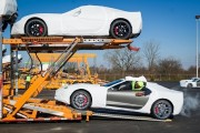 Corvettes on truck trailer