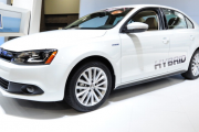 The Volkswagen Jetta hybrid on display =