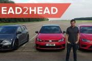 VW Golf GTI Clubsport vs Seat Leon Cupra 290 vs Honda Civic Type R DRAG RACE   Head2Head