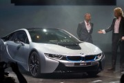 ntertainer Thomas Gottschalk (R) and actor Thomas Kretschmann present the launch of the BMW i8 plug-in hybrid sports car at BMW World on June 5, 2014 in Munich, Germany.