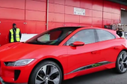 Red Jaguar I-Pace Getting Unloaded in Geneva