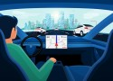 Autonomous autopilot smart driverless electric car self-driving on road to city