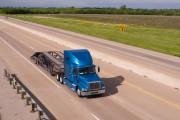 Blue Big Rig Semi Truck Car Hauler Highway Transportation