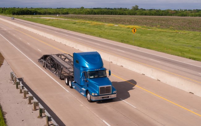Blue Big Rig Semi Truck Car Hauler Highway Transportation